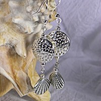 Dimpled Disc and Clam Shell Silver Bead Two Link Dangle Earrings