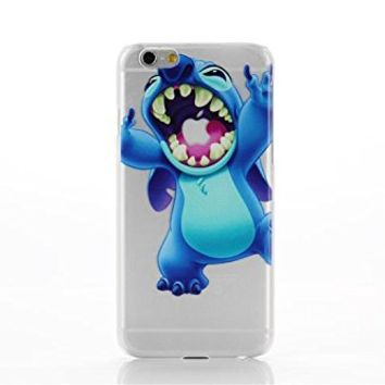 iPhone 6 Lovely Disney Cartoon Lilo and Stitch Eating/ Grabbing Apple logo Cute Clear Case Cover for Iphone 6 Xmas Gift (color 04#)
