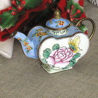 Vintage Enameled Miniature Metal Teapot- Asian Persuasion