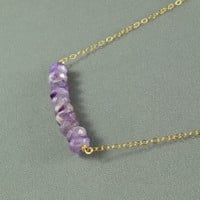 Beautiful Amethyst Beaded Necklace, Wired Wrapped Beads, 14K Gold Filled Chain, Wonderful Jewelry
