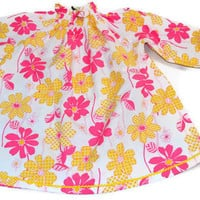 Girls blouse, tunic,  peasant style top, 100% cotton, pink and yellow floral print, long sleeved, size 5, Handmade, USA