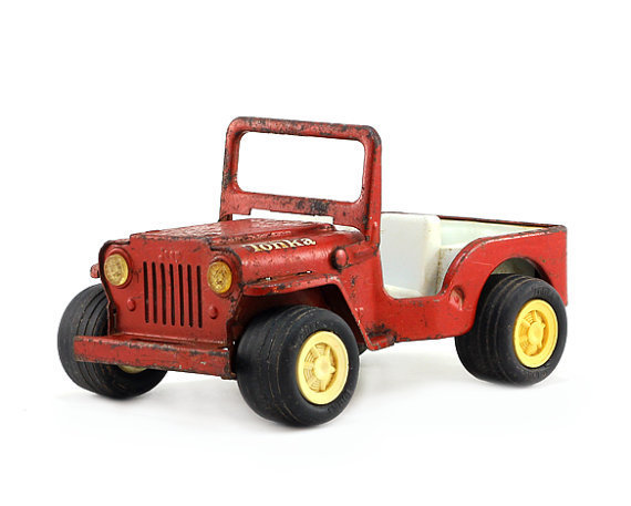 Tonka Jeep: Vintage Toy Truck - Industrial Decor - Red, Men, Boys, Automotive, Vehicle, Metal Truck - 1960's