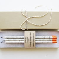 Recycled Pencil Set // Tangerine Orange Paint Dipped // Back to School Gift