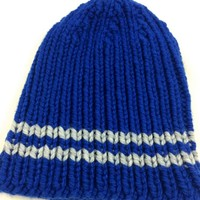 Hat Mens Beanie Royal Blue Gray Stripes Bernat Softee Chunky Warm