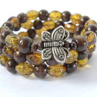 Ready To Ship New Dark Wood and Faceted Amber Acrylic Bead Butterfly Bracelet Stacker Stackable Set Of 3
