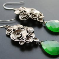 Green Earrings, Glam Droplet, Divine Chalcedony, Gunmetal, Oxidized Silver Earrings, Flower Chandeliers
