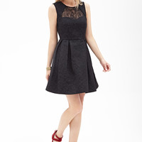 Lace-Paneled Matelassé Dress