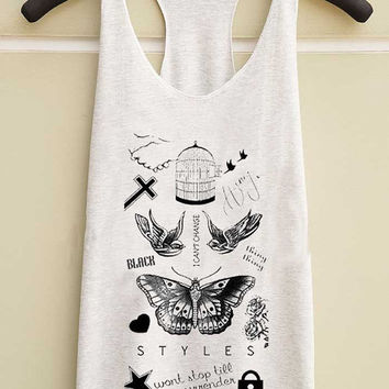 harry styles tattoo yuppy shop for Tank top Mens and Girls available S - XXL customized