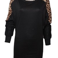 Women Leopard Print Long Sleeve Batwing Tops Blouse Loose Tunic T-shirts