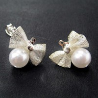 ONE DOLLAR SALE - Small Pearl Stud Earrings with Bow Tie Detail