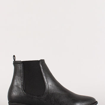 Leatherette Flat Chelsea Ankle Boot