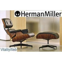 Amazon.com: Santos Palisander Herman Miller Eames Chair Recliner Lounger and Matching ottoman - Black Leather: Home & Garden