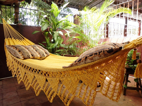 One Color Double Hammock Handmade Natural Cotton Triangle Fringe