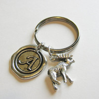 1 Moose Wax Seal Initial  Keychain Hunting