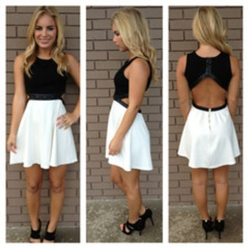 Black & White Kiera Open Back Dress