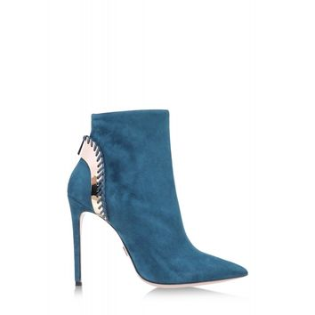 Daniele Michetti Gaelle Teal Suede Ankle Boot - Stiletto Booties - ShopBAZAAR
