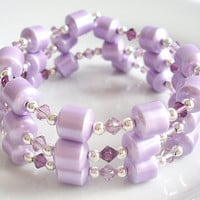 Lilac Magnetic Hematite Wrap Bracelet, February Birthstone Amethyst Bracelet