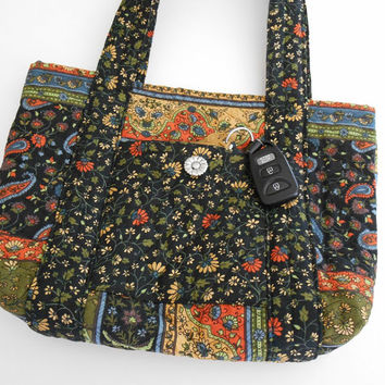 Handmade Fall Purse or Tote Bag in Pre-Quilted Cotton Fabric Navy Blue Orange Green and Gold