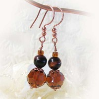 Tiger Eye and Crystal Earrings, Dark Amber