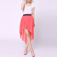 Bqueen Asymmetric Maxi Red Skirt   TD004R