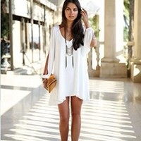 Moxeay Sexy Womens Loose Round Neck Strapless A-line Casual Skirts Mini Summer Dress (S, White)