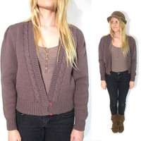 SALE 25% OFF. 1980s Taupe Brown Deep V Neck Cable Cardi. Size Small.