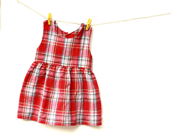 Girls Dress / Toddler  Dress Red Tartan - Christmas in July
