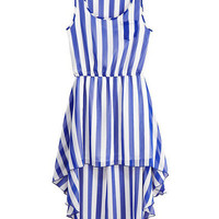 Sleeveless Asymmetric Hem Stripes Blue-white Dress [NCSKX0108] - $50.99 :