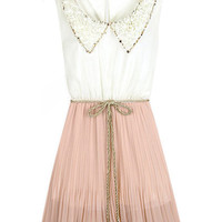 Peter Pan Neckline Pink Dress [NCSKX0088] - $41.99 :
