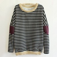 Woman's Stripes Pattern Sweater Shirt with Patchwork Elbow 090307