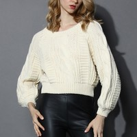 Cable Knit Crop Sweater in Beige Beige S/M