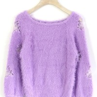 Mohair Purple Crop Top with Rose Insert Purple S/M