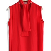 Sleeveless Chiffon Top with Scraf