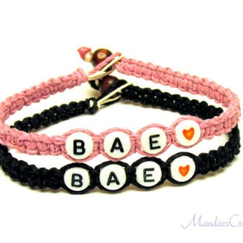 Bae Bracelets for Couples or Best Friends, Light Pink and Black Hemp Jewelry