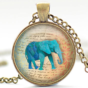 Turquoise Elephant Necklace, Elephant Art Pendant, Elephant Jewelry, Your Choice of Finish (364)