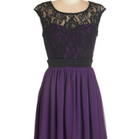 ModCloth Short Length Cap Sleeves A-line Shortcake Story Dress in Purple