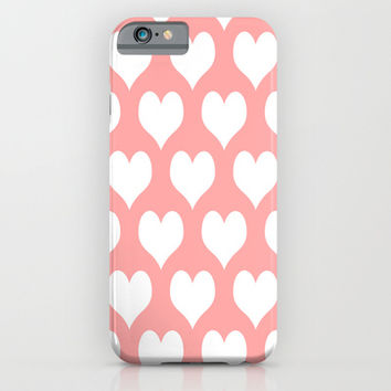 Coral Pink Hearts of Love iPhone & iPod Case by BeautifulHomes