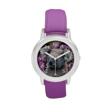 Koala and Orchids Stainless Steel Watch