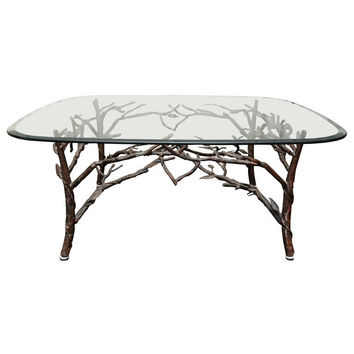 1STDIBS.COM - foley&cox home - Glass Top Coffee Table with tree leg base