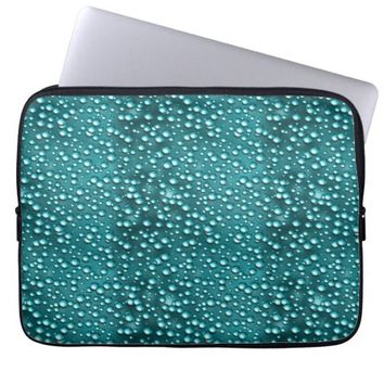 "Turquoise Rain drops 13"" Laptop Sleeve"