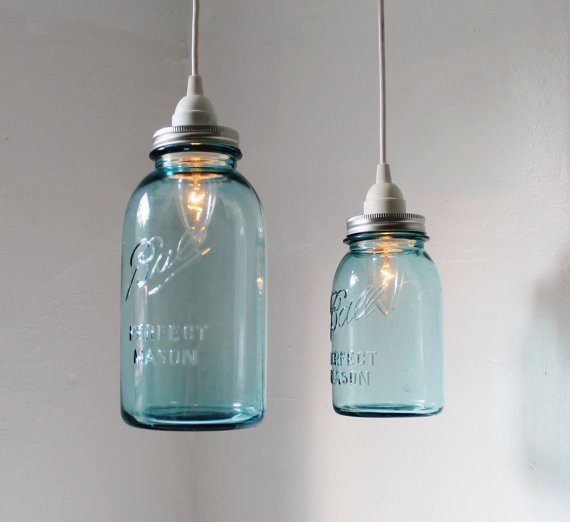 Sea Glass Mason Jar Pendant Lights Set From Boots N Gus On Etsy