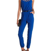 Strappy Yoke Belted Jumpsuit by Charlotte Russe - Cobalt