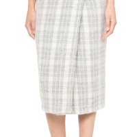Windowpane Plaid Wrap Skirt