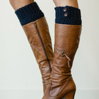 Navy Blue Knitted Boot Cuffs with Buttons - Boots Socks, Knitted Faux Leg Warmers, Layering Socks in Blue (BC-18)