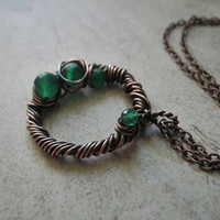 Green Onyx pendant, wire wrapped necklace, copper geometric necklace, round boho jewelry