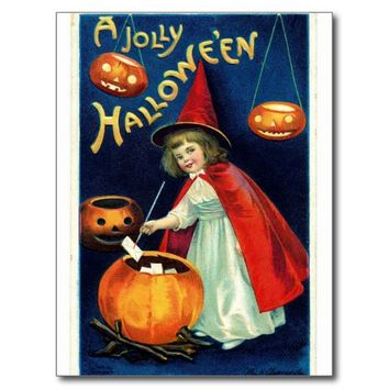 Witch Girl Pumpkin Halloween Postcard