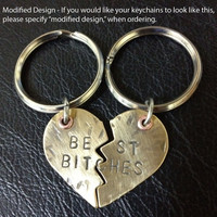Mature Content - Keychain - Best Bitches Brass Heart Keychain