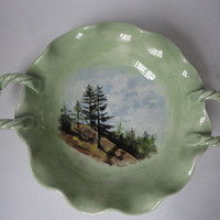 Light Green Serving Platter with Mountain Scene