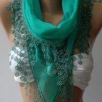 Nile Green - Cotton shawl /Elegance Shawl - Scarf with Lace Edge..