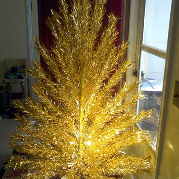 Vintage Gold Stainless Aluminum 6 foot Christmas Tree Artificial Full X-mas Tree Evergleam Xmas Decoration Decor Retro Mid Century Modern